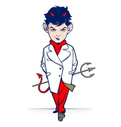 cartoon devil character vector image vector image