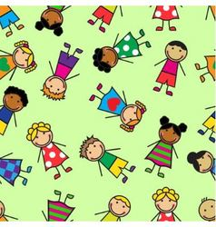 Cartoon seamless pattern with children vector image
