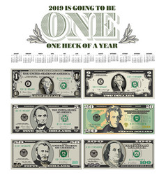 catchy 2019 calendar with six bills vector image