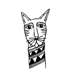 Cats head primitive tattoo vector