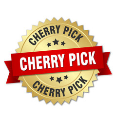 Cherry pick round isolated gold badge vector