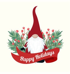 Christmas card with tree branches and gnome vector