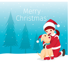christmas happy children hugging her dog vector image
