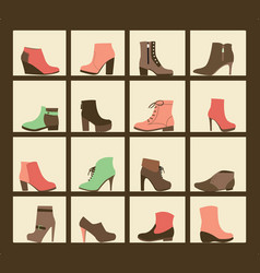 collection of shoes on shelves of shop vector image