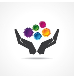 Colorful gears in hand vector