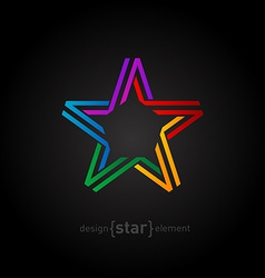 Colorful star from ribbon on black background vector