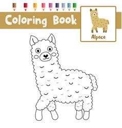 Coloring page brown alpaca vector