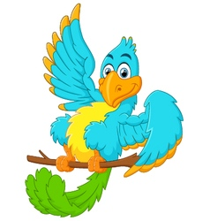 Cute blue bird cartoon waving vector image