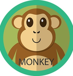 Cute brown monkey cartoon flat icon avatar round vector image