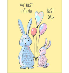 cute bunny dad and little bunny son vector image