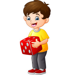 Cute little boy holding red dice vector