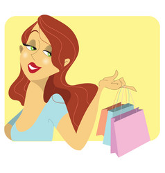 cute redhead woman with shopping bags vector image