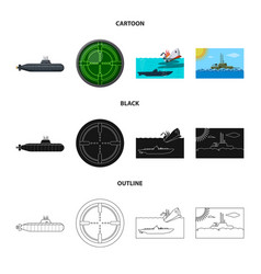 Design of war and ship sign set of war and vector