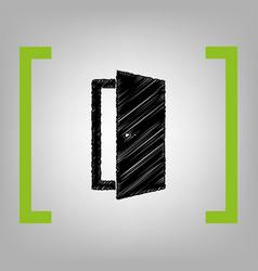 door sign black scribble vector image