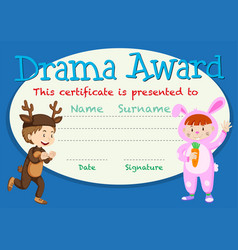 Drama student award template vector