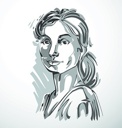 drawing of beautiful confident woman portrait in vector image