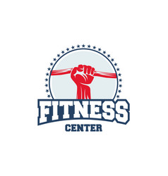 Fitness logo badge with muscle man gymnastic logo vector