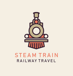 Flat image retro steam train vector