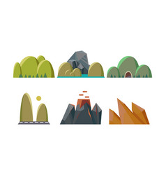 Flat set green hills and rocky mountains vector