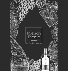 french food design template hand drawn picnic vector image