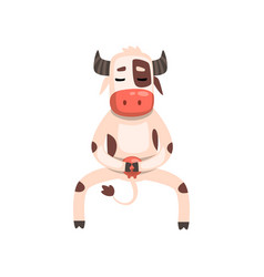 funny cow cartoon character doing physical vector image