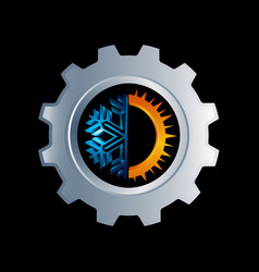 gear hot and cold round sign logo temperature vector image