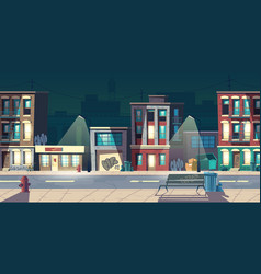 Ghetto street at night slum abandoned houses vector