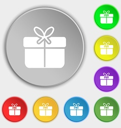 Gift box icon sign Symbol on eight flat buttons vector