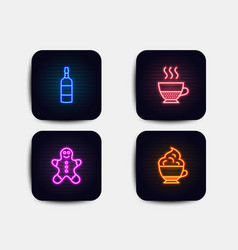 Gingerbread man brandy bottle and doppio icons vector