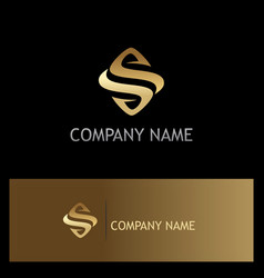 Gold letter s company logo vector