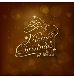 Golden Merry Christmas Card vector image