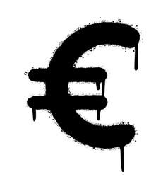 Graffiti euro icon sprayed isolated on white vector