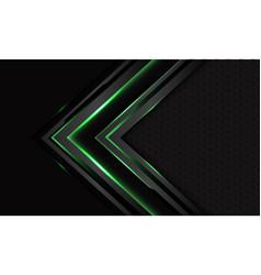 Green cyber arrow grey mesh background vector