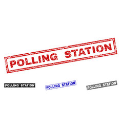 Grunge polling station textured rectangle stamp vector