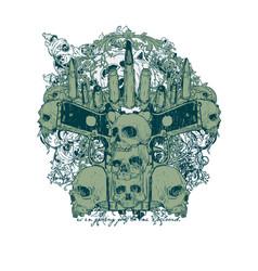 gun skull vector image