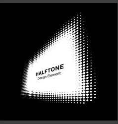 halftone dots distort rectangle in perspective vector image