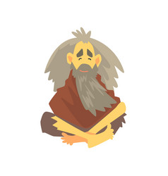 Homeless man character in dirty rags sitting on vector