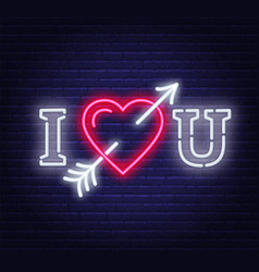 i love you neon heart with arrow sign vector image