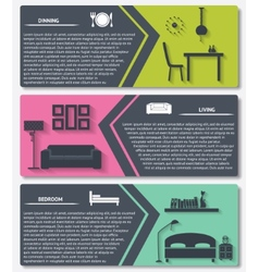 Info graphic house interior banners vector