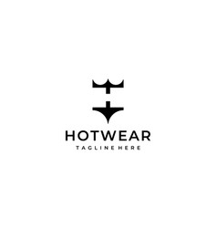 initial letter h with undearwear logo design vector image