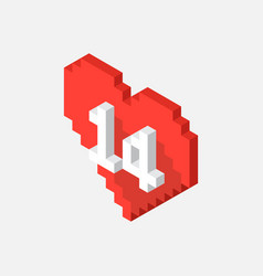 isometric pixel valentines day heart icon vector image