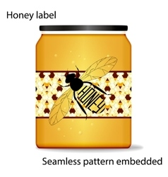 label on honey the bee with vector image