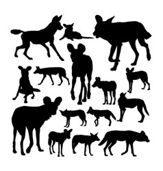 Lycaon african wild dog silhouettes vector