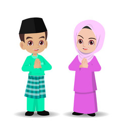 Malay boy and girl celebrate hari raya aidilfitri vector