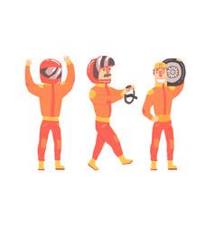 men in orange rider suits vector image