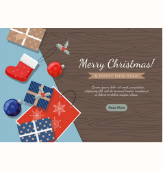 merry christmas banner presents balls vector image