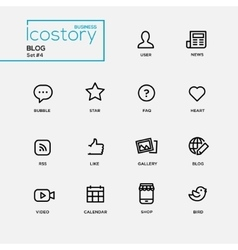 Modern blog simple thin line design icons vector