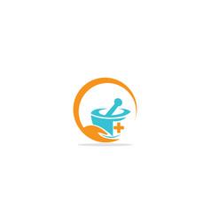 Mortar bowl helathcare logo vector