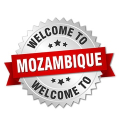 Mozambique 3d silver badge with red ribbon vector image