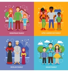 National families icons set vector